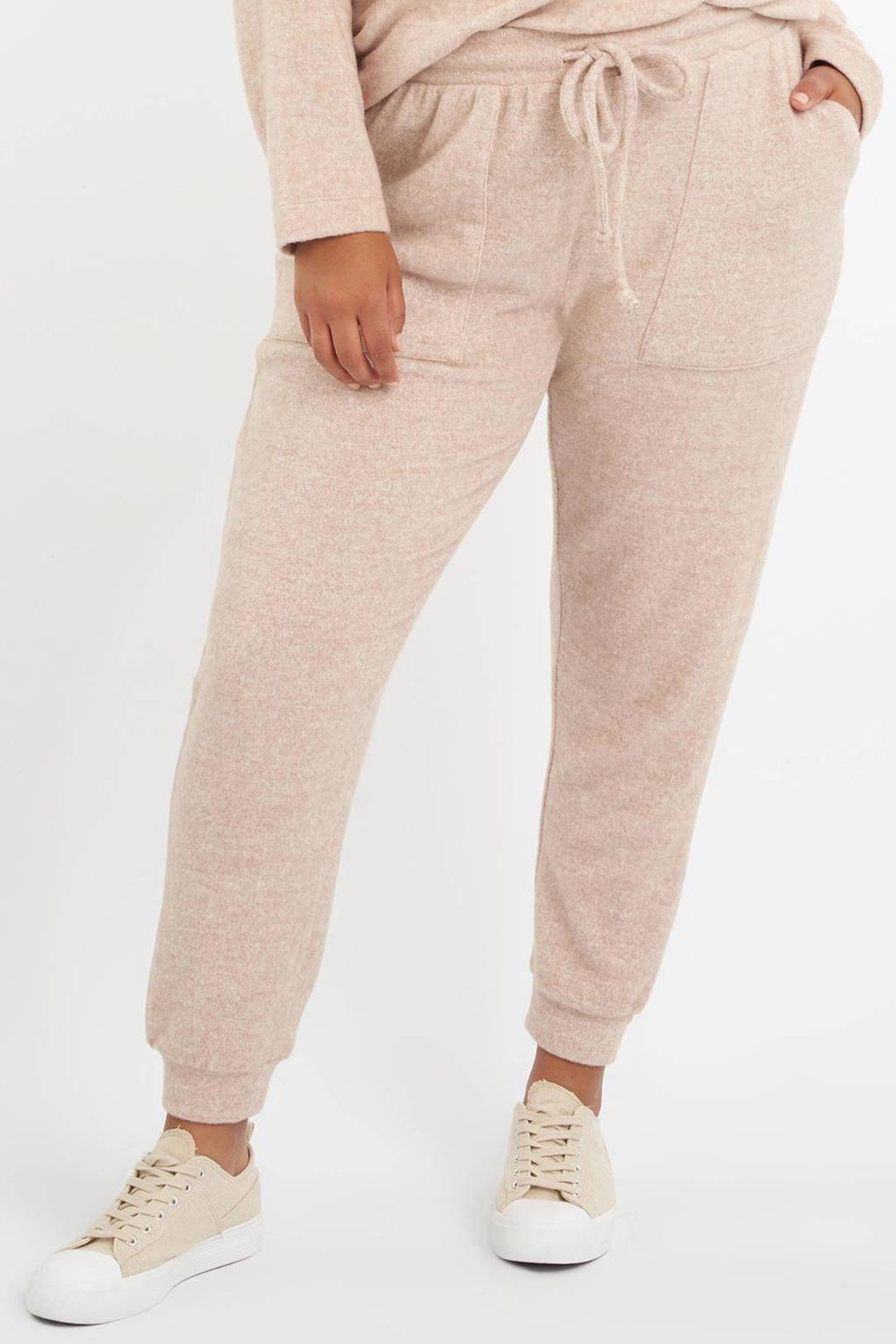 MS Mode high waist slim fit joggingbroek beige, Beige