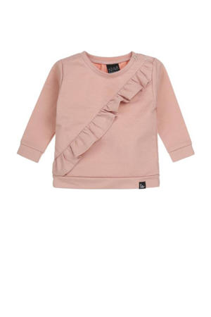 baby sweater met ruches oudroze