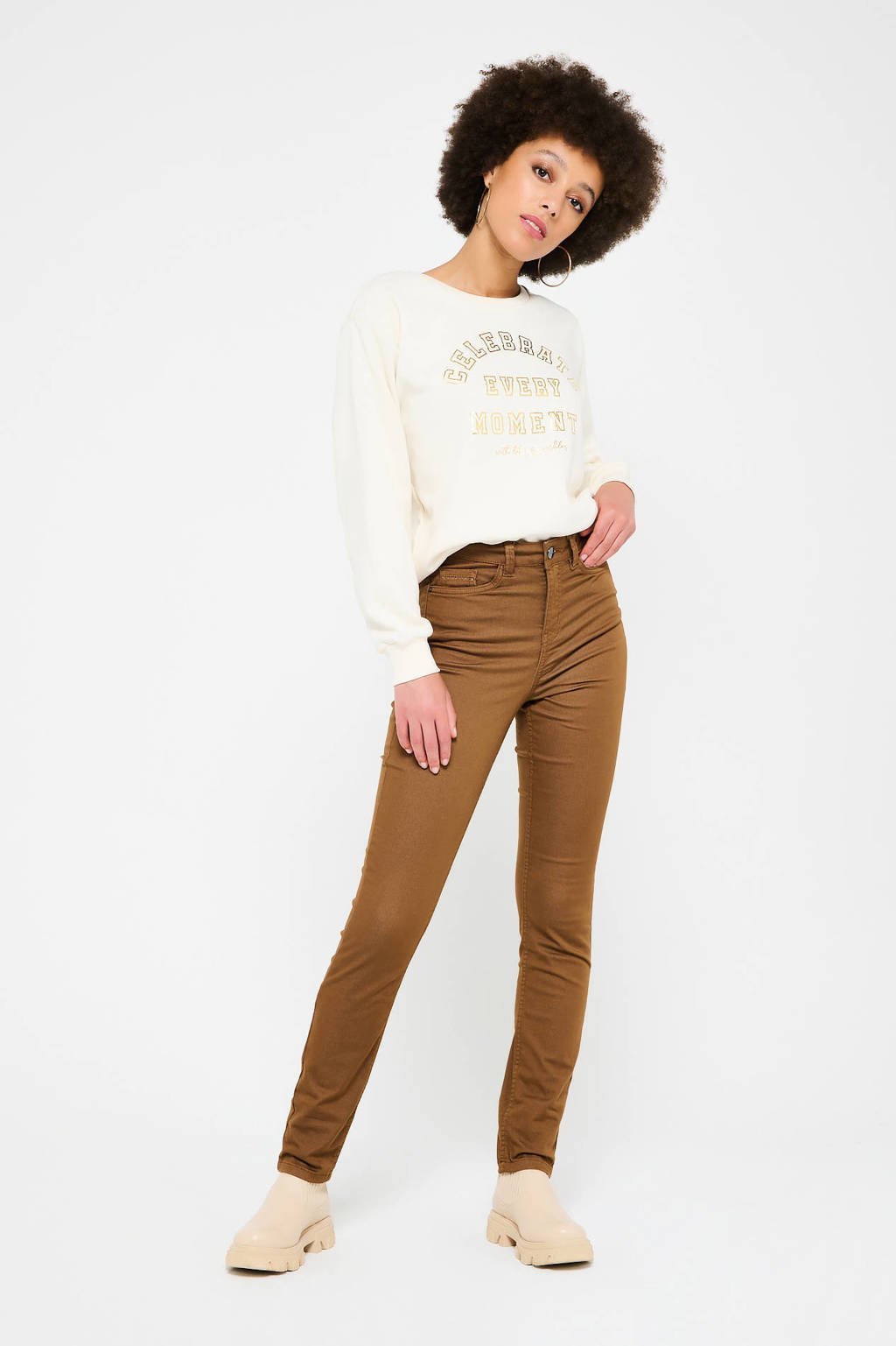 LOLALIZA high waist slim fit broek van gerecycled polyester camel, Camel