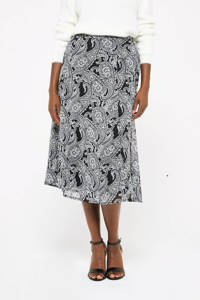 LOLALIZA semi-transparante midi rok met paisleyprint zwart/wit, Zwart/wit