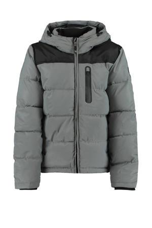 gewatteerde winterjas grijs
