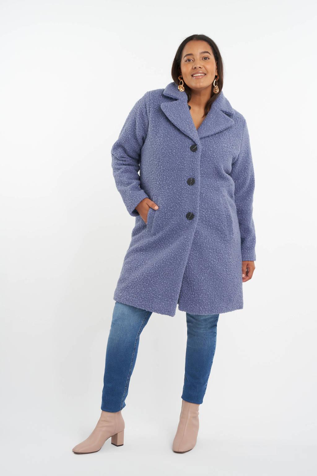 MS Mode teddy winterjas met textuur blauw, Blauw