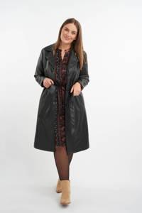 MS Mode imitatieleren jas met ceintuur zwart, Zwart