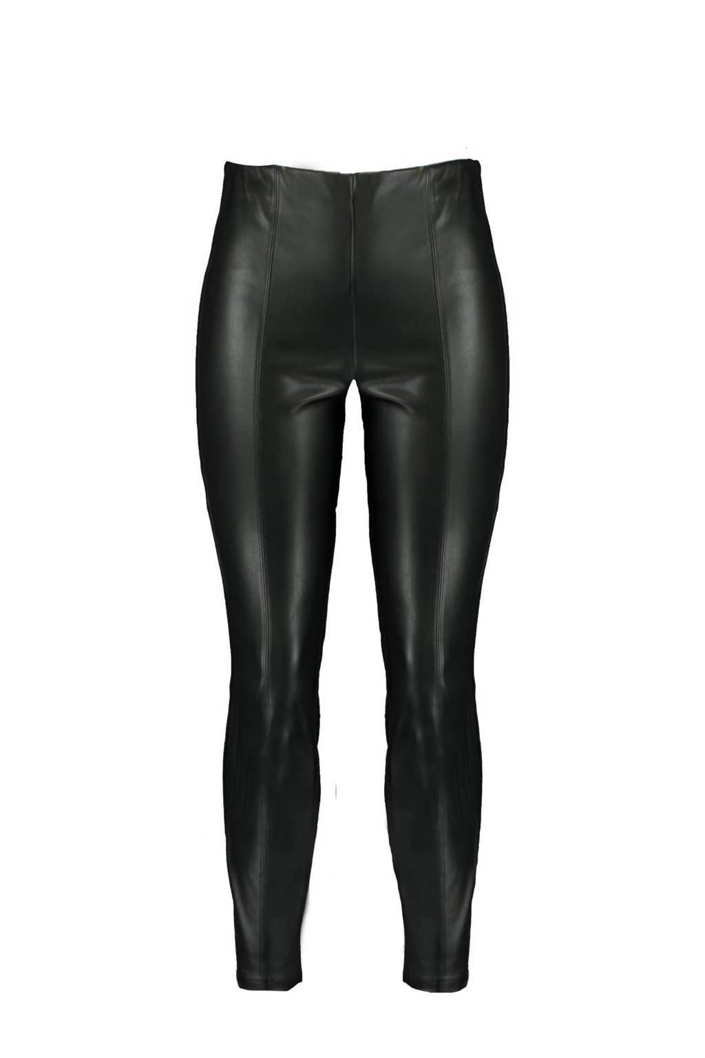 MS Mode Plus Size imitatieleren legging zwart, Zwart