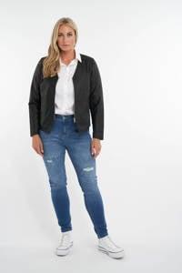 MS Mode imitatieleren jas zwart, Zwart