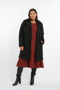 MS Mode teddy winterjas met textuur zwart, Zwart