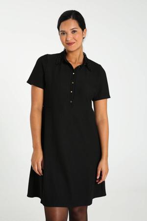 ribgebreide jurk met kant zwart