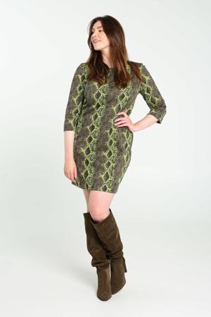 jurk met slangenprint groen/zwart