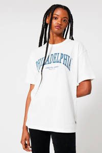 America Today T-shirt met tekst wit, Wit