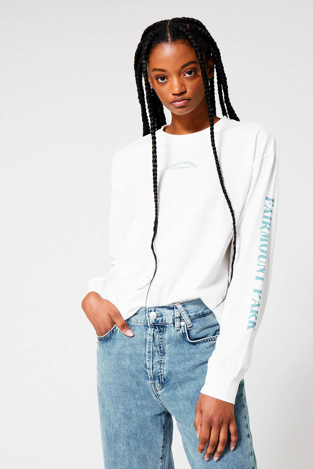 America Today sweater met tekst ecru, Ecru