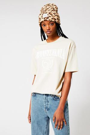 T-shirt met tekst beige