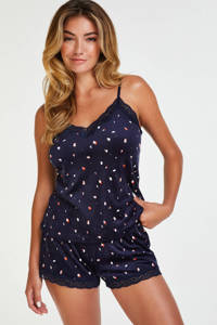 Hunkemöller velours pyjamashort donkerblauw, Donkerblauw