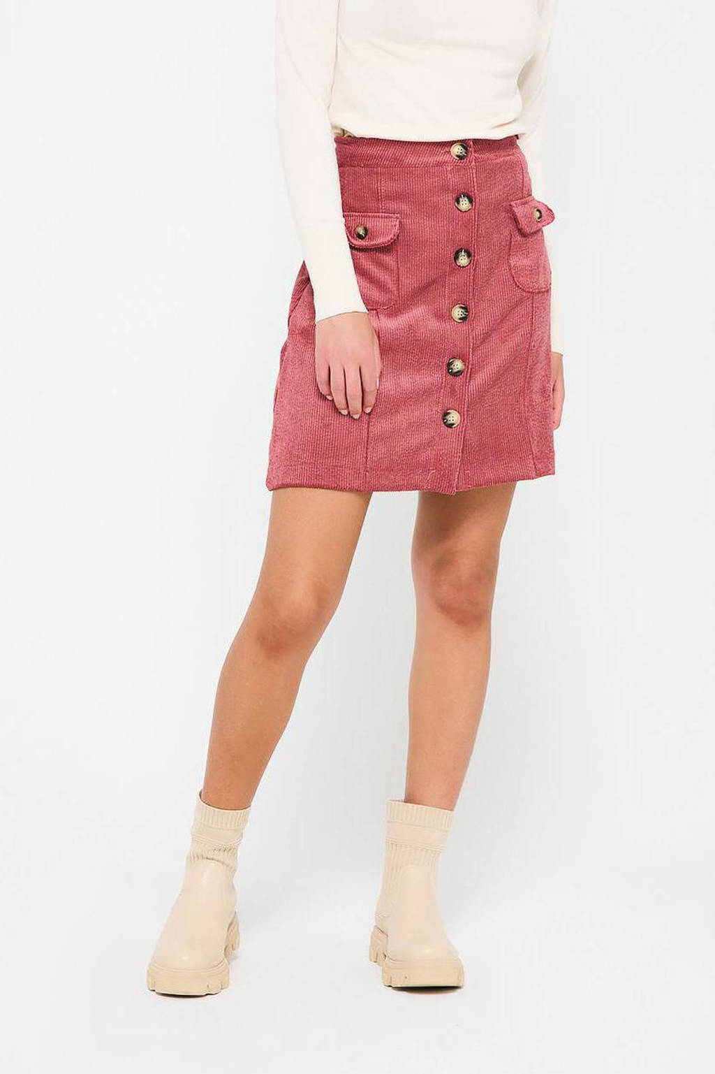 LOLALIZA corduroy rok roze, Roze