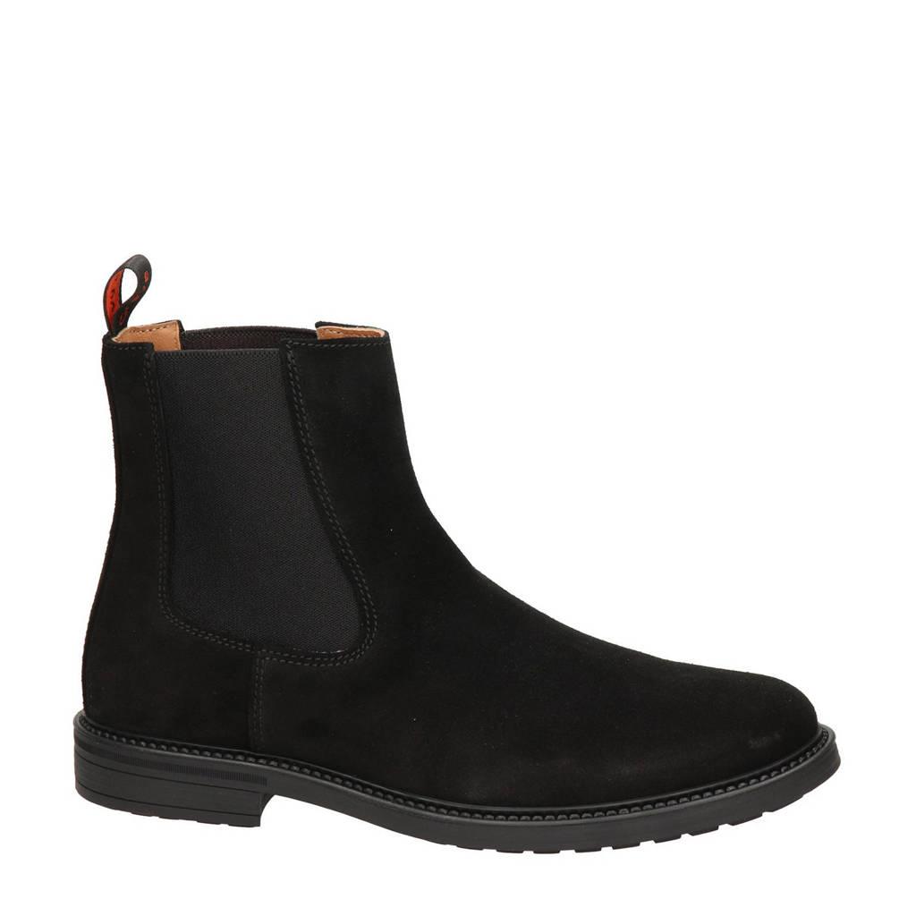 Greve Barbour  suède chelsea boots zwart, Zwart