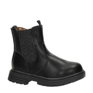 chelsea boots met panterprint zwart