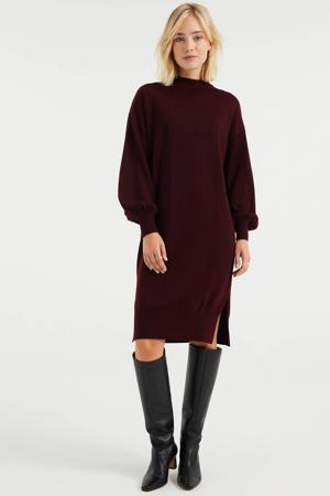fijngebreide jurk met wol donkerrood
