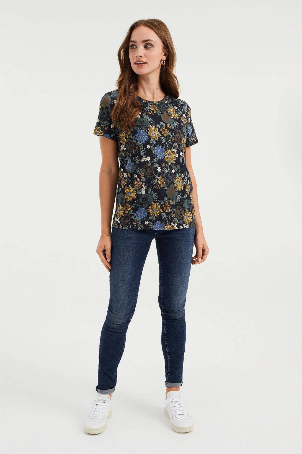 WE Fashion gebloemd T-shirt zwart/groen/blauw/geel, Zwart/groen/blauw/geel
