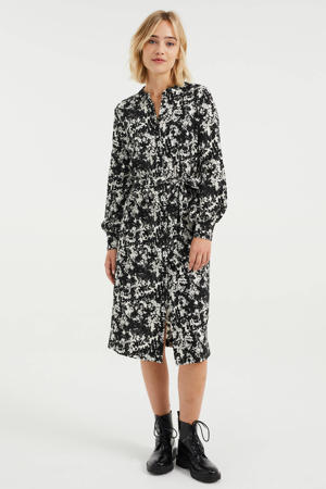 jurk met bladprint en ceintuur zwart/wit