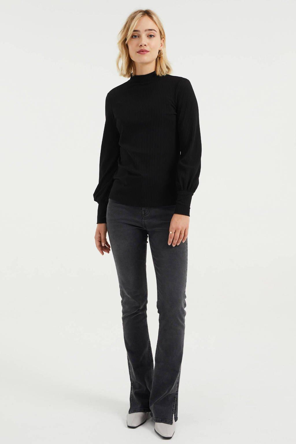 WE Fashion fijngebreide top zwart, Zwart