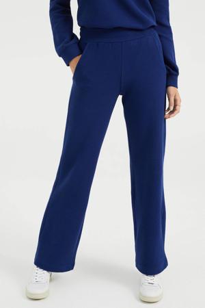 wide leg joggingbroek met textuur blauw