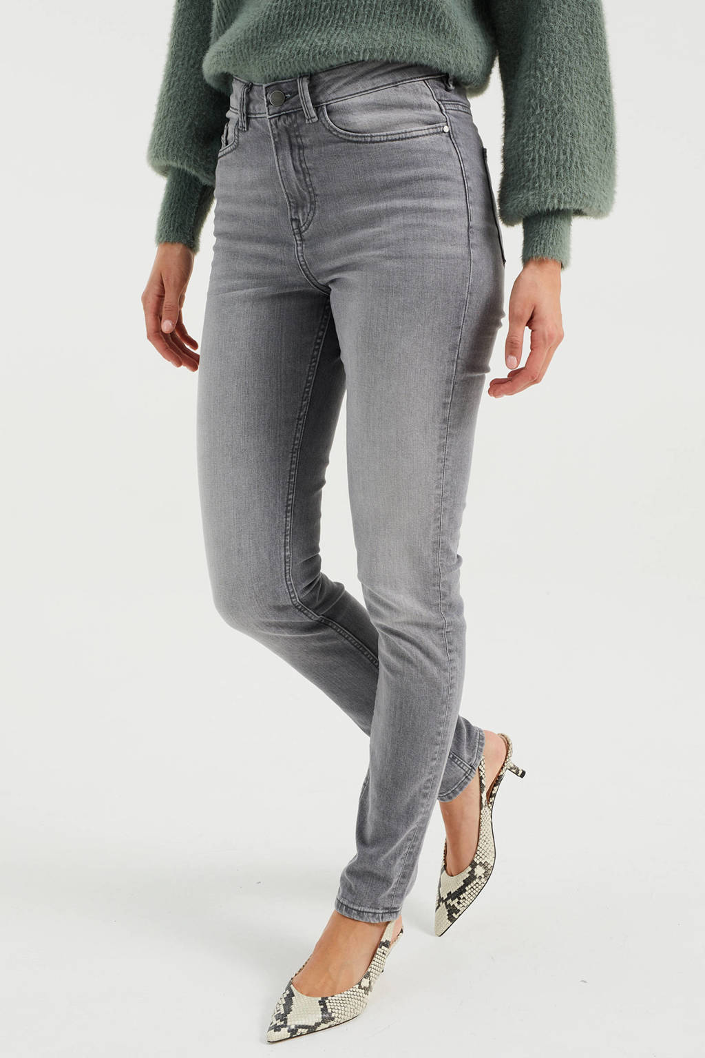 WE Fashion Blue Ridge high waist skinny jeans light grey, Light Grey