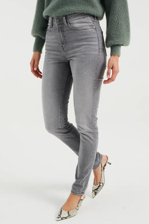 high waist skinny jeans light grey
