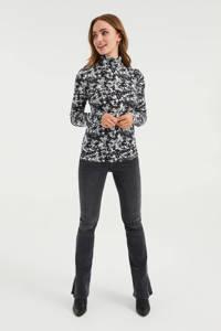 WE Fashion gebloemd T-shirt zwart/wit, Zwart/wit