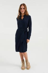 WE Fashion jurk met ruches donkerblauw, Donkerblauw