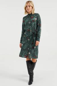 WE Fashion gebloemde jurk groen/rood/lichtroze/oranje, Groen/rood/lichtroze/oranje