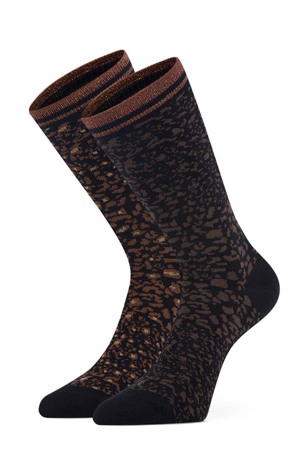 Marcmarcs sokken Lidia - set van 2 zwart/bruin, Zwart/bruin