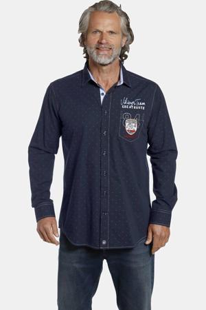 oversized overhemd THORGERT Plus Size met all over print en borduursels donkerblauw