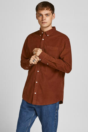 corduroy slim fit overhemd JPRBLUATLAS CORD  sequoia