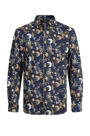 gebloemd slim fit overhemd JPRBLABLACKBURN FLOWER  navy blazer