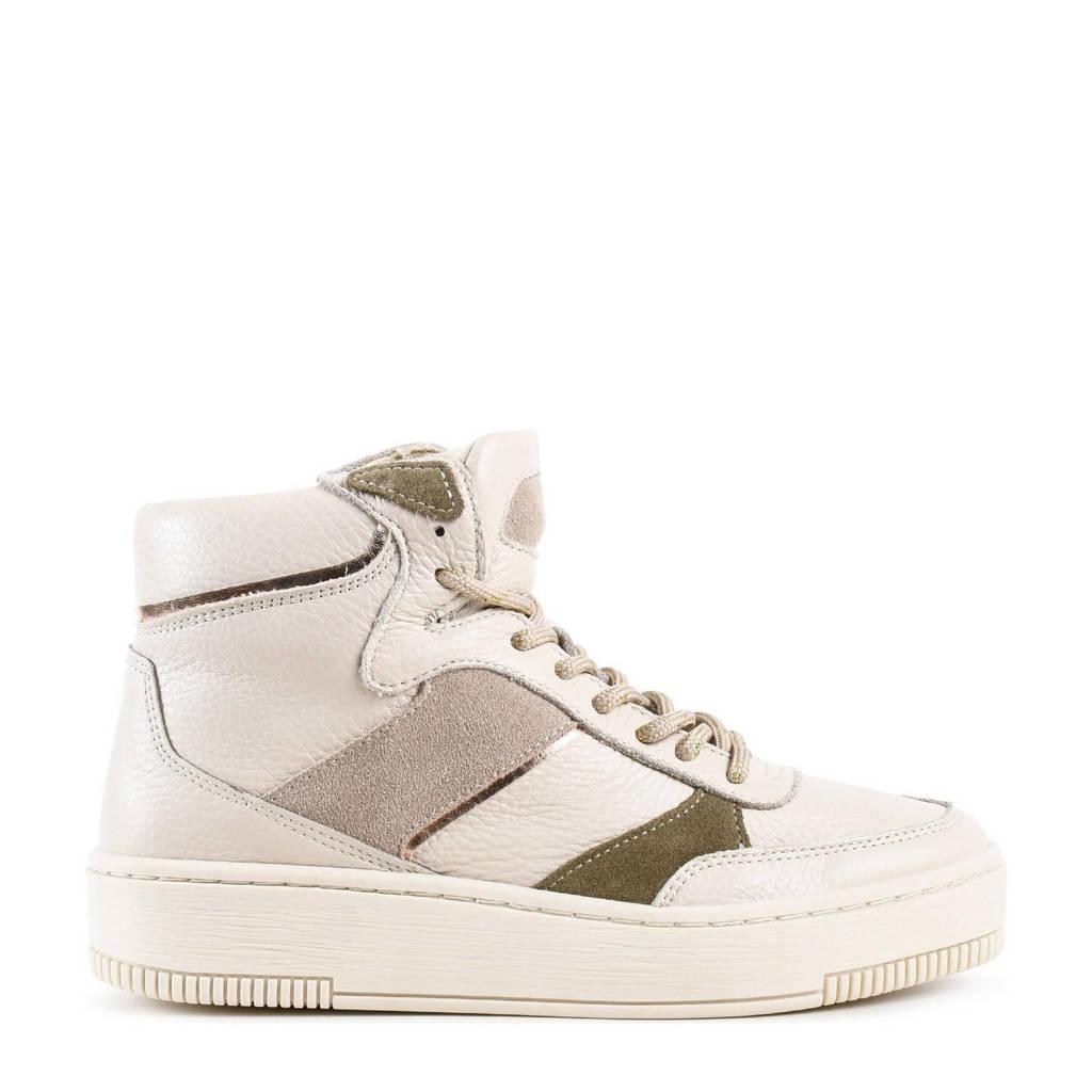 PS Poelman Esquimo  hoge leren sneakers off white, wit/metallic