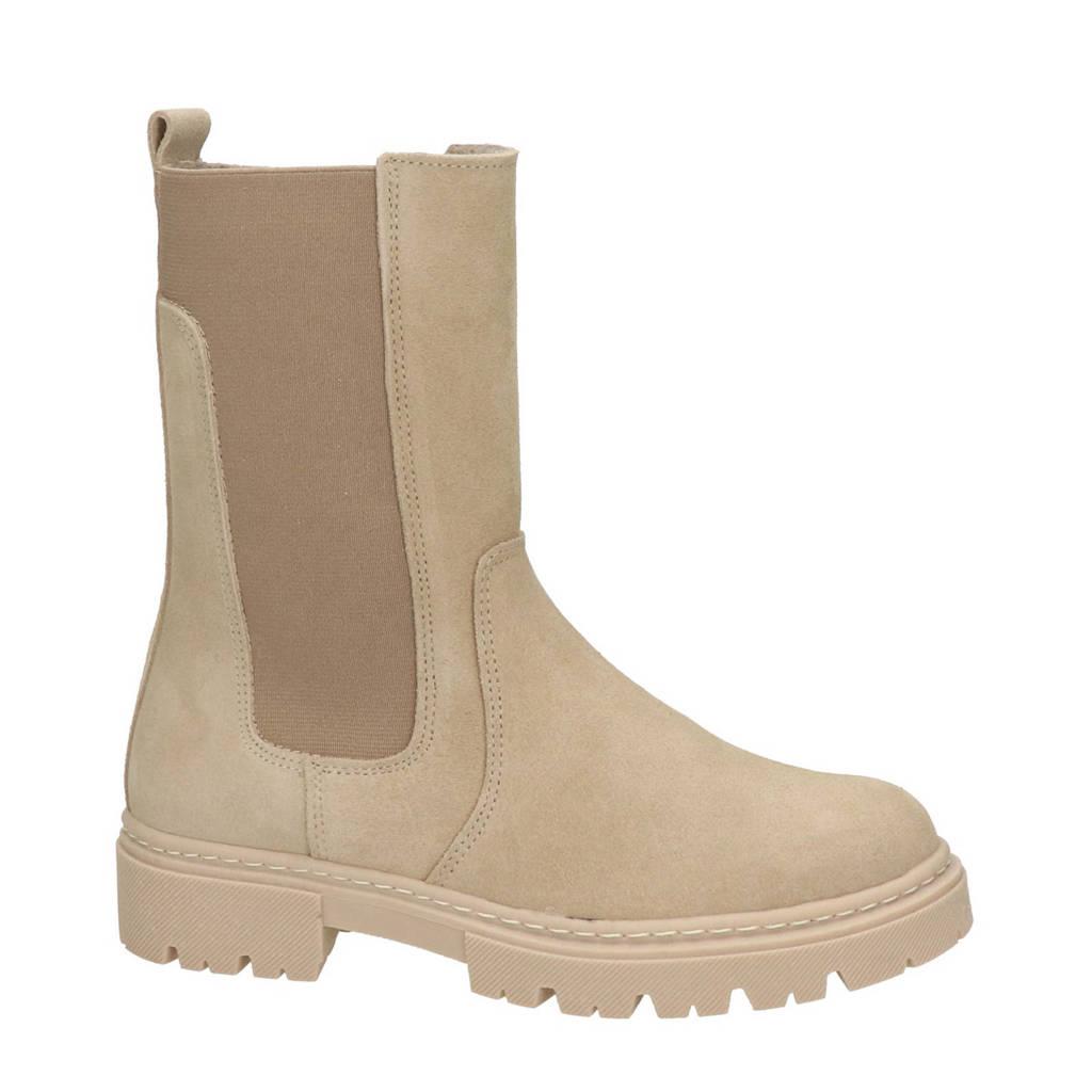 Nelson Kids   hoge suède chelsea boots beige, Beige