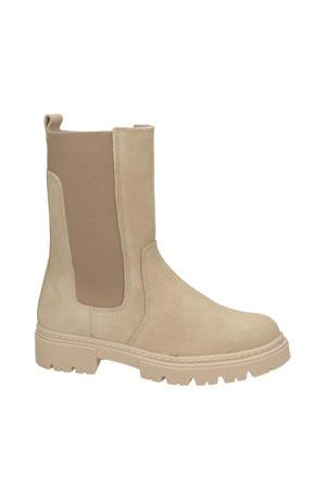 hoge suède chelsea boots beige