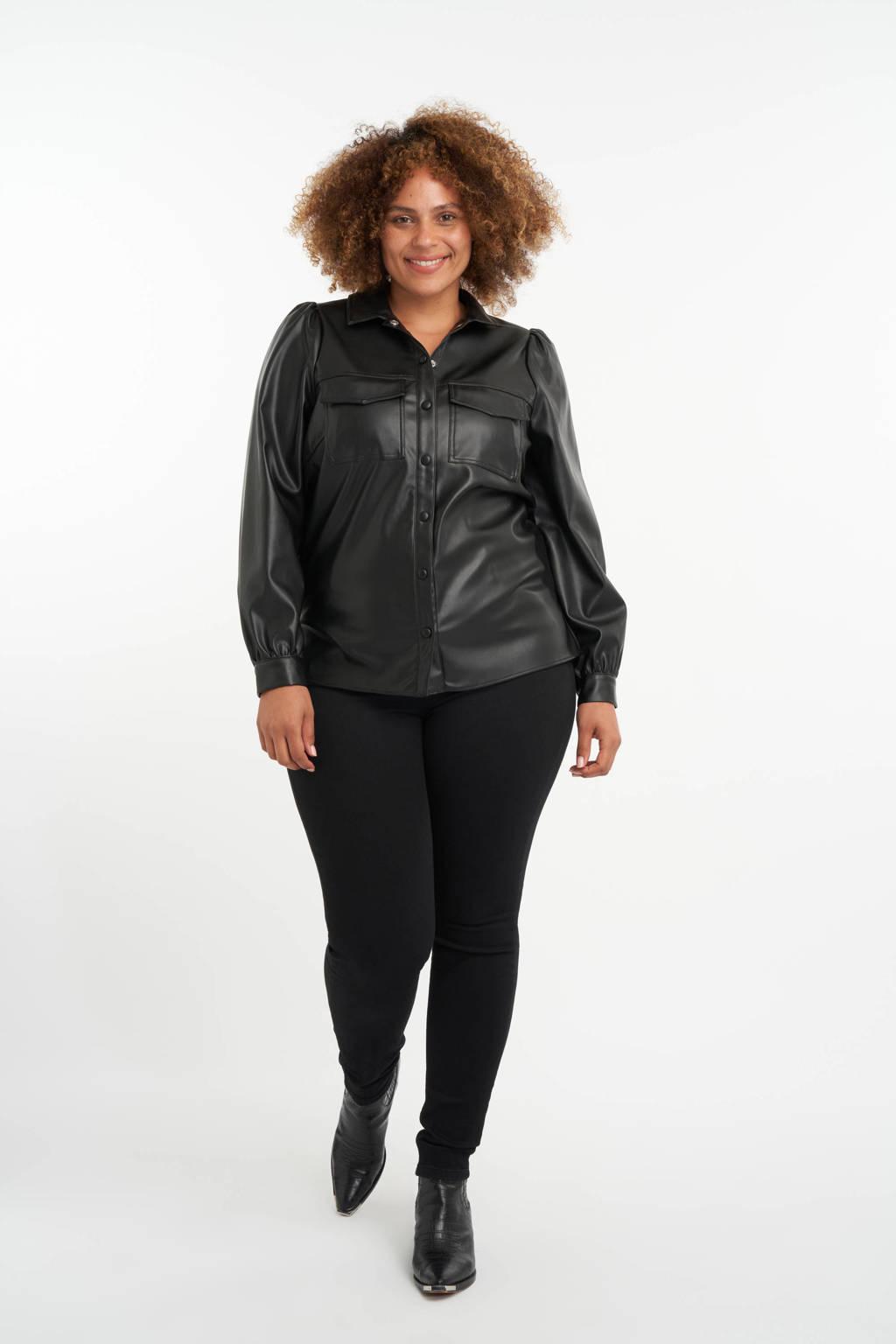 MS Mode imitatieleren blouse zwart, Zwart