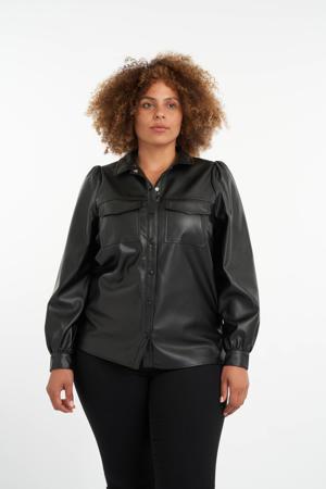 imitatieleren blouse zwart
