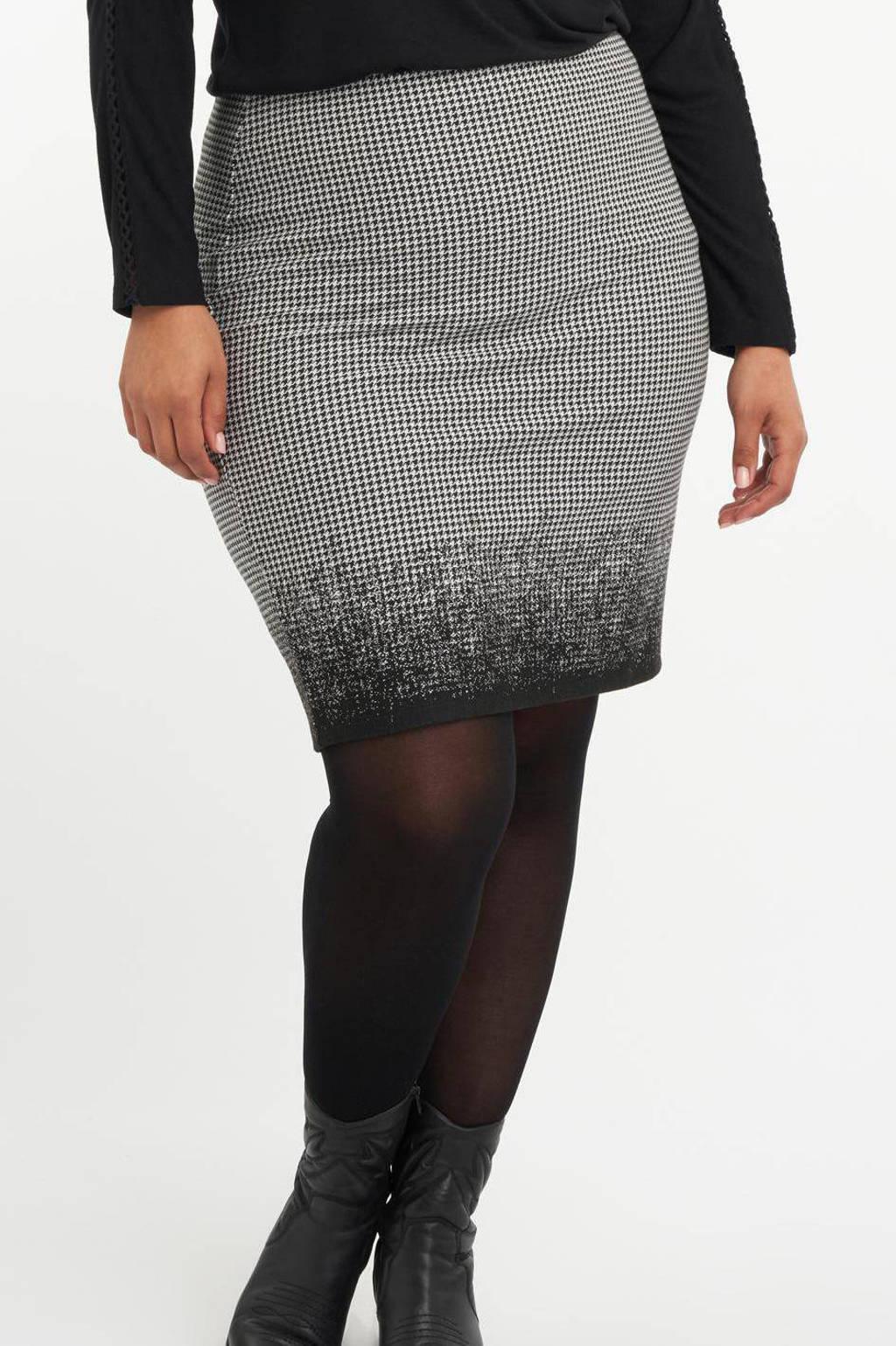 MS Mode rok met pied-de-poule zwart/wit, Zwart/wit