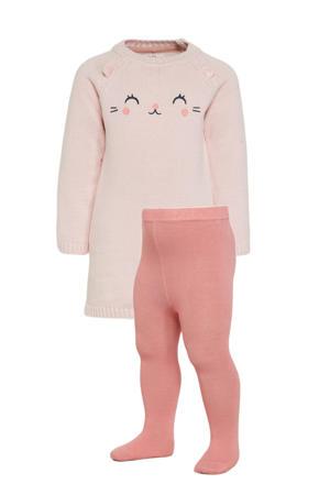gebreide jurk + maillot roze
