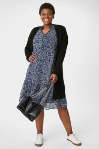 C&A XL semi-transparante maxi jurk met all over print en mesh donkerblauw/wit, Donkerblauw/wit