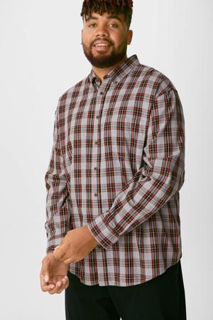 geruit regular fit overhemd grijs/rood