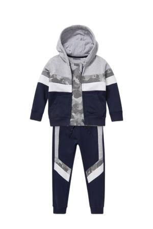 joggingbroek + vest + T-shirt donkerblauw/grijs