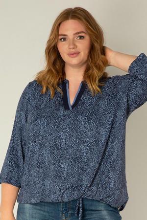blousetop Viten met all over print donkerblauw/blauw