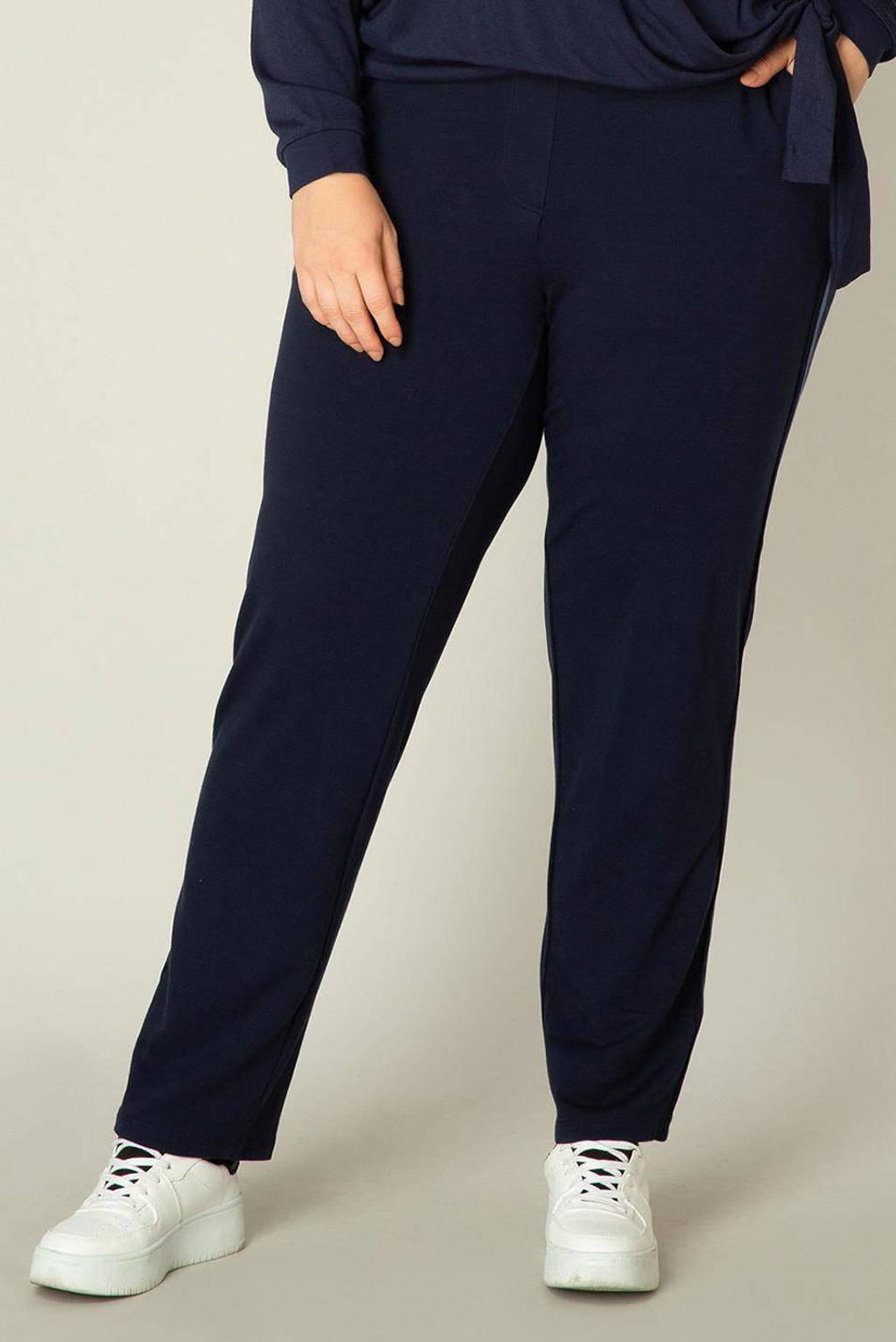 Yesta slim fit broek Vieve met zijstreep donkerblauw/blauw, Donkerblauw/blauw
