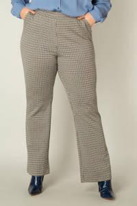 Yesta geruite flared broek Veromme beige/bruin/donkerblauw, Beige/bruin/donkerblauw