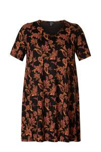 Yesta jersey tuniekjurk Abernathy Essential met paisleyprint zwart/oudroze/oranje, Zwart/oudroze/oranje