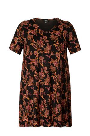jersey tuniekjurk Abernathy Essential met paisleyprint zwart/oudroze/oranje