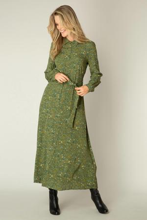 gebloemde maxi blousejurk Ouda olijfgroen/groen/geel