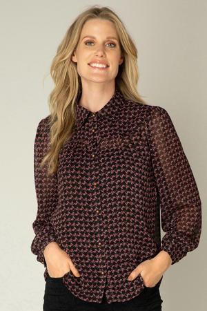 semi-transparante blouse Odischa van gerecycled polyester zwart/roze